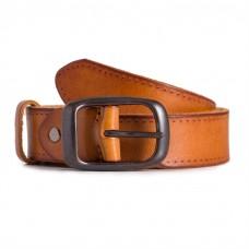 Jeans Leather Belt Raw Cowhide Orange