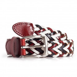 Womens Braided Leather Belt Multicolor