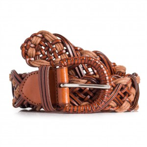 Ladies Brown Braided Leahter Belt