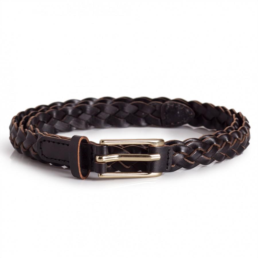 Skinny Braided Belt Black
