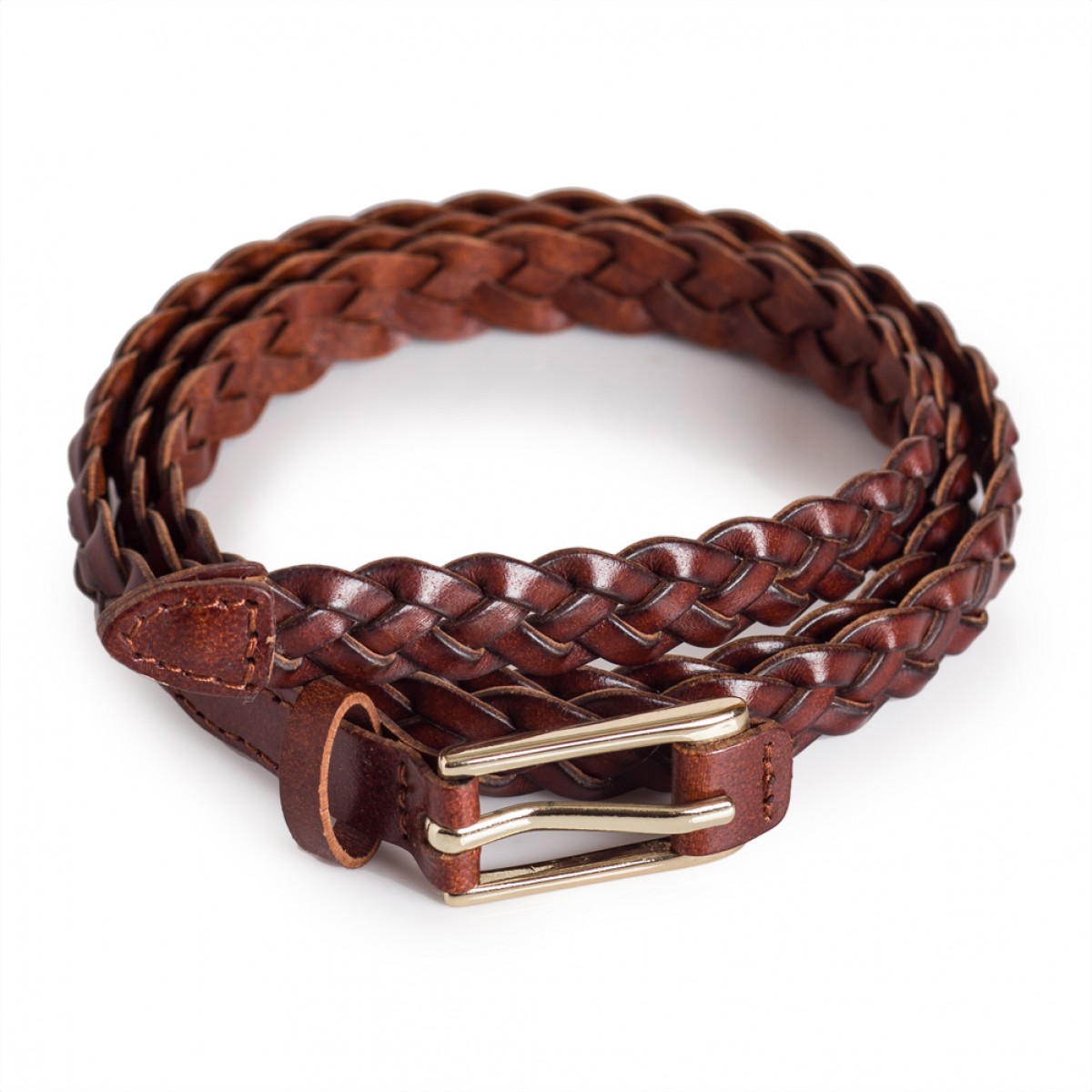16493f4adeab6 Brown Skinny Braided Belt Fits Waist Sizes 28in - 35in
