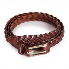 Brown Skinny Braided Belt