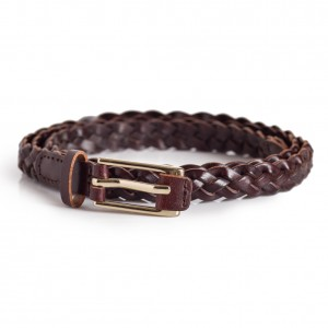 Skinny Dark Brown Braided Belt