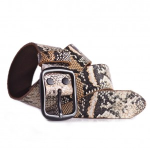 Snake Skin Print Leather Belt