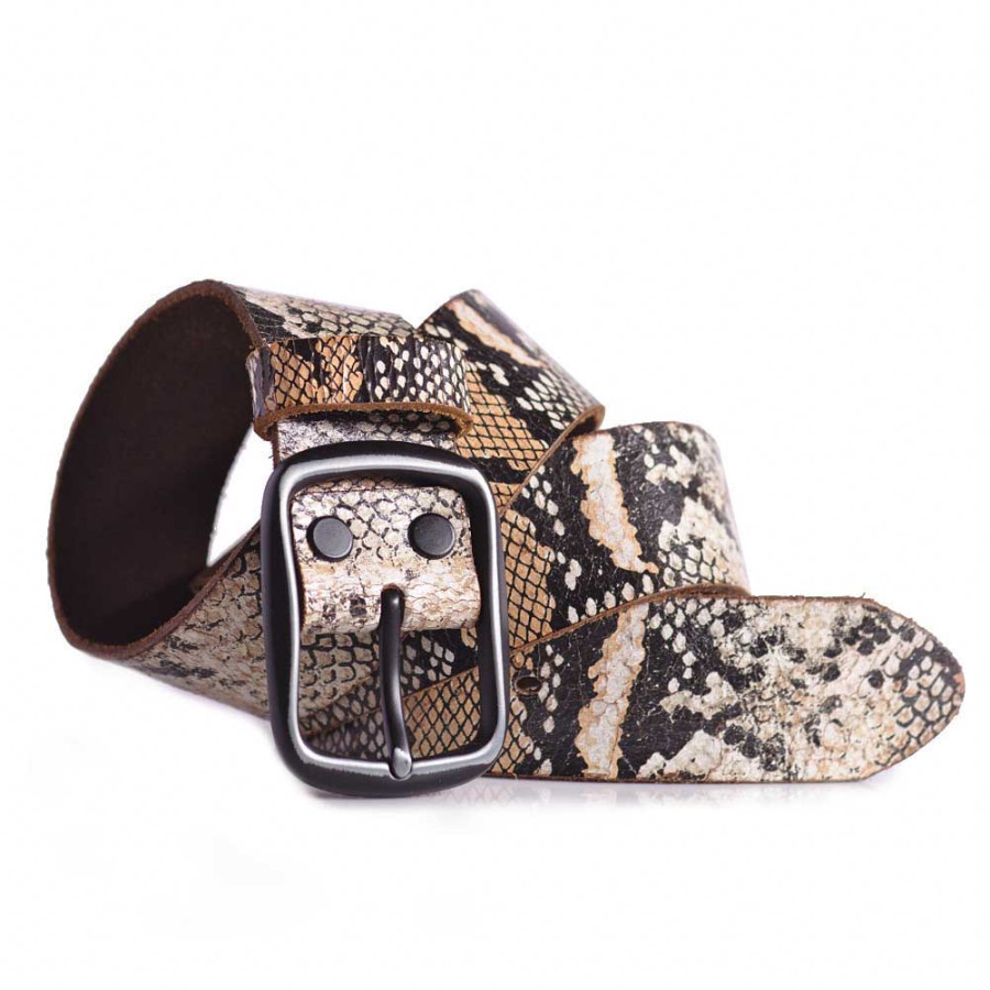 Snake Skin Print Leather Belt