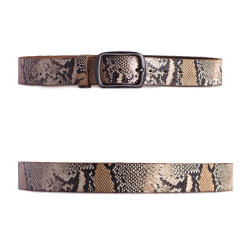 Distressed Snake Skin Print Leather Belt