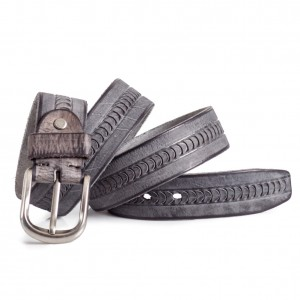 Grey Leather Belt with Carving Sizes 30-44in