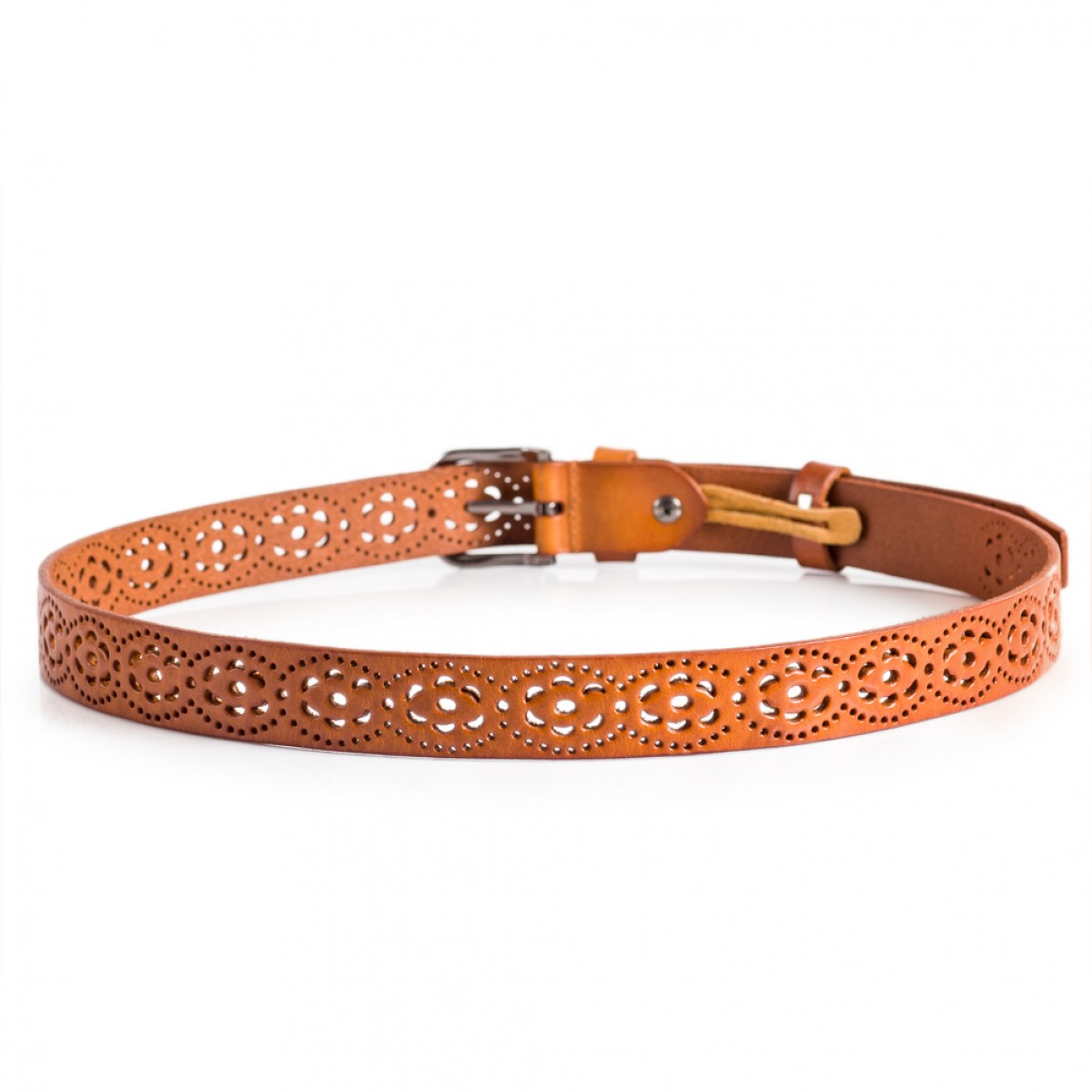 Floral Cut Out Leather Belt For Ladies Orange Sizes 28