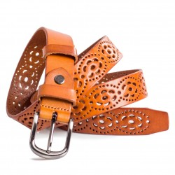 Floral Cut Out Leather Belt for Ladies Orange Sizes 28-40in