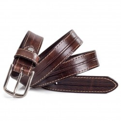 Ladies Classic Business Belt Stitching Detail Brown Sizes 28-40in