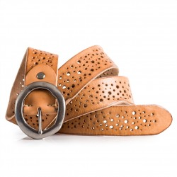 Ladies Natural Tanned Leather Belt Cut Out Design Sizes 28-40in