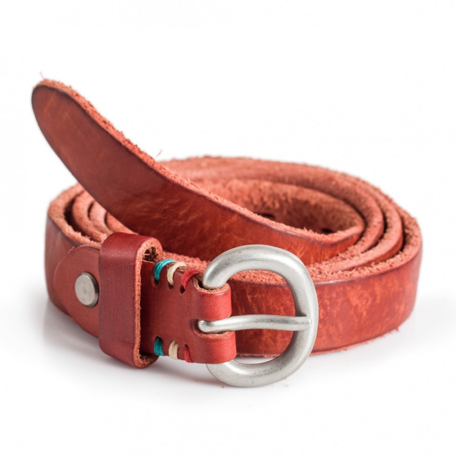 Red Skinny Leather Belt Rugged Edges Sizes 28-40in