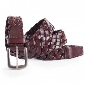 Mens Brown Leather Braided Belt 1.5'' Width Sizes 34-40in