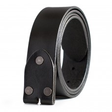 Mens Belt Full Grain Leather Strap Black Interchangeable Buckle 1.5in Wide