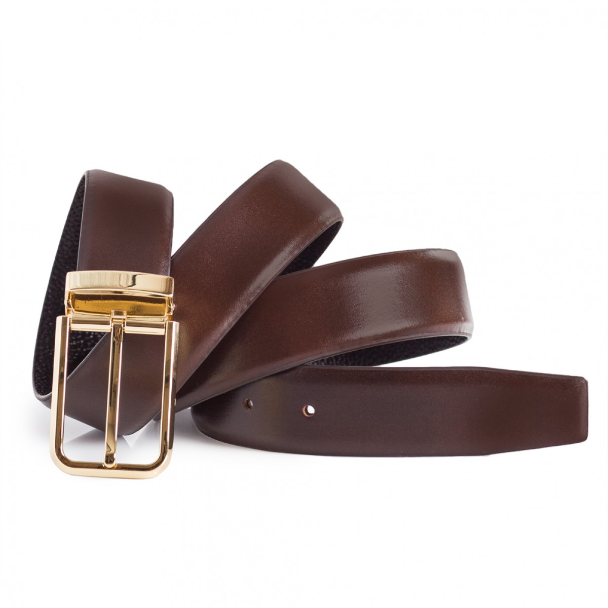 Mens Brown Dress Leather Belt Gold Single Prong Buckle 1 1 3   Width ... 866fc5f1a92a