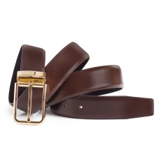 Mens Brown Dress Leather Belt Gold Single Prong Buckle 1 1/3'' Width