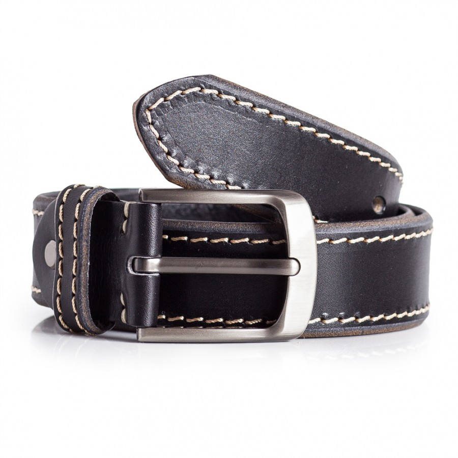 Black Leather Jeans Belt White Stitching Carved Detail 1 1/2'' Width