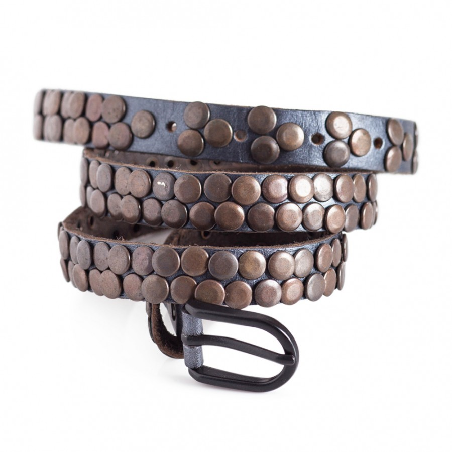 Womens Skinny Blue Belt with Studs 0.8in Width Fits Waist Sizes 28-34in