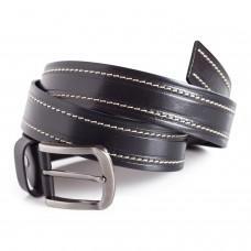 Full Grain Leather Belt White Stitching Detail 1 1/2'' Width
