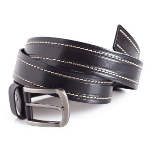 Full Grain Leather Belt White Stitching Detail 1 1/2'' Width