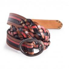 Ladies Braided Leather Belt Black Red Brown Width 1.1''