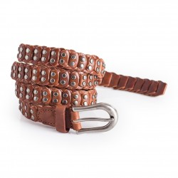 Womens Skinny Leather Belt Brown with Studs 0.9in Width