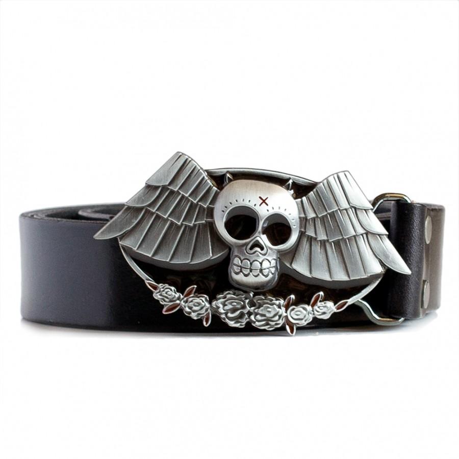 Bat Buckle Leather Belt Black