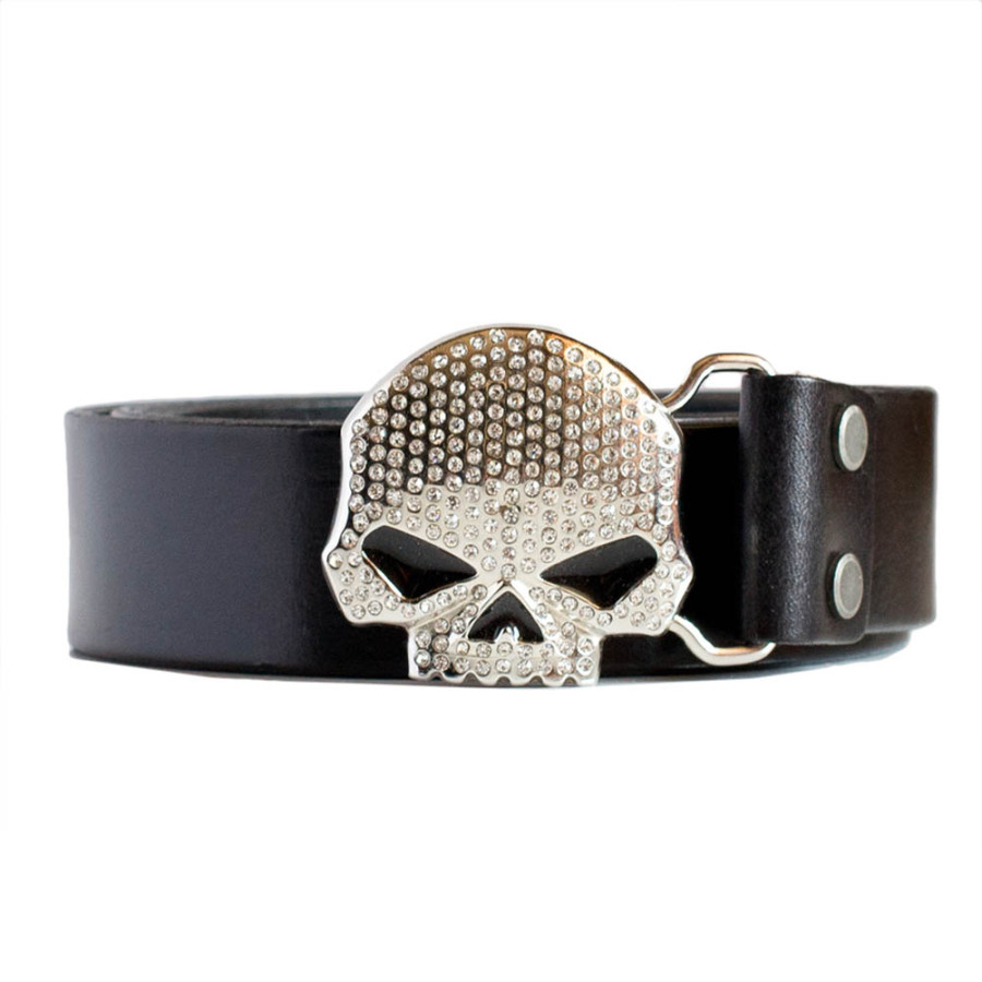 Mens Rhinestone Skull Belt