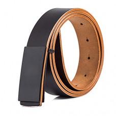 Mens Casual Black Leather Belt Matte Buckle 1.3in Width