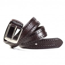 Mens Brown Leather Belt Braided Detail