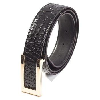 Croc Texture Reversible Belt Black