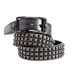 Triple Row Pyramid Stud Distressed Leather Belt 1.5in Width Sizes 30-44in