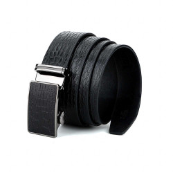 Sleek Reptile Formal Leather Belt Black with Automatic Buckle 1.5in Width