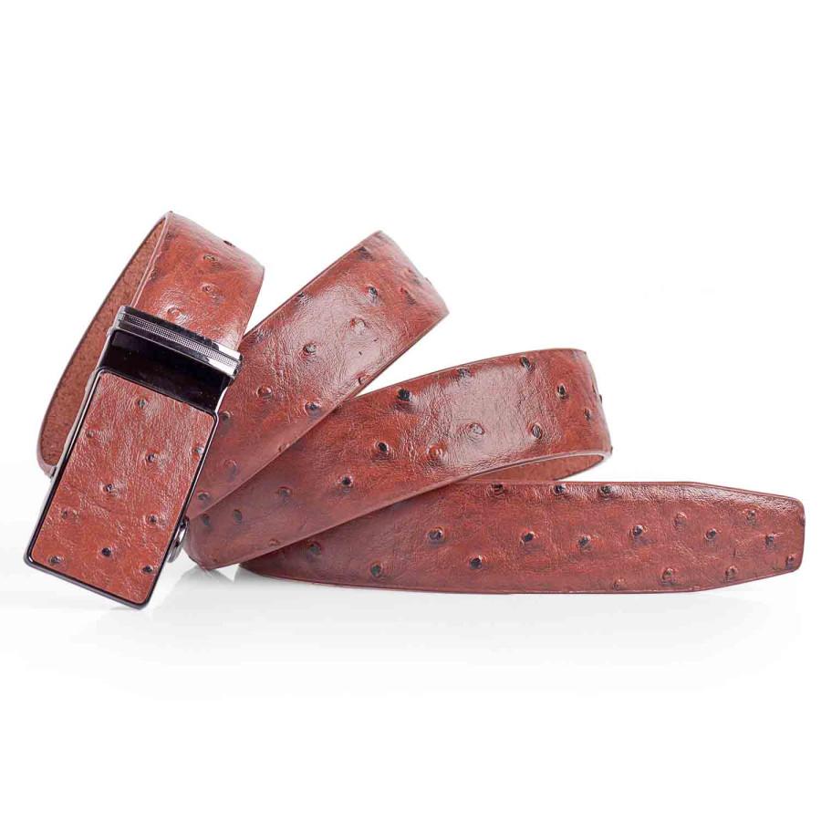 Mens Ostrich Dress Belt Automatic Buckle Brown