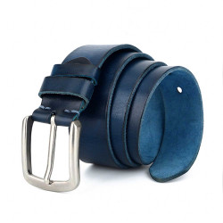 Navy Blue Leather Belt for Jeans