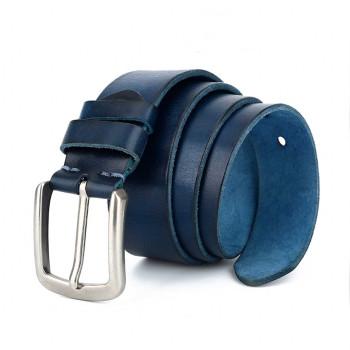 Blue Navy Casual Jeans Belt Italian Leather