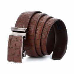 Croc Emboss Suit Dress Belt Brown Automatic Buckle