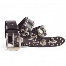 Punk Rock Spade and Skull Leather Belt