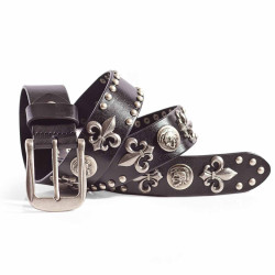 Punk Rock Skull Studded Belt Italian Leather