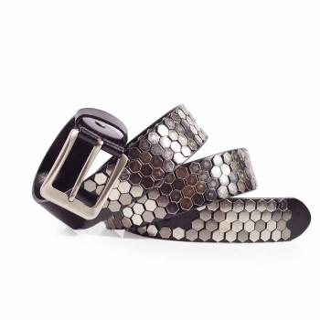 Mens Honeycomb Studs Rocker Belt Italian Leather 1.5in Width Sizes 30-44in