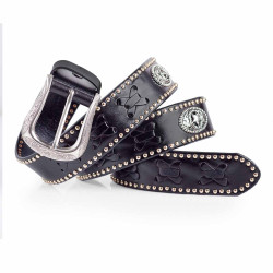 Western Studded Belt Engraved Buckle 1.5in Width