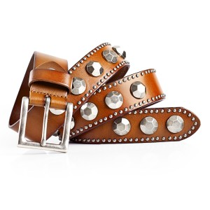 Mens Casual Dress Belt with Silver Conchos Italian Leather 1.5in Width Brown