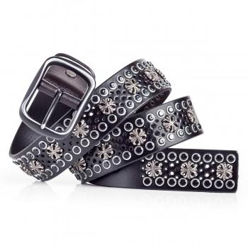 Fashionable Studded Black Belt Italian Leather 1.5in Width