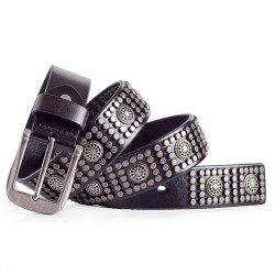 RocknRoll Stud Belt Italian Leather Black 1.5in Width