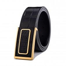 Mens Croco Dress Belt Leather Buckle