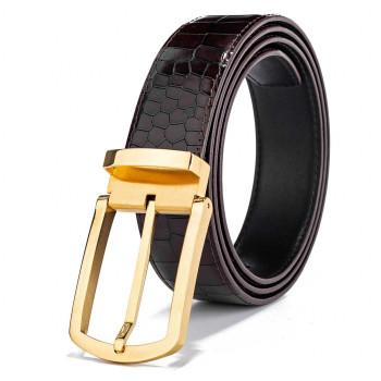 Mens Luxurious Croc Leather Belt Black