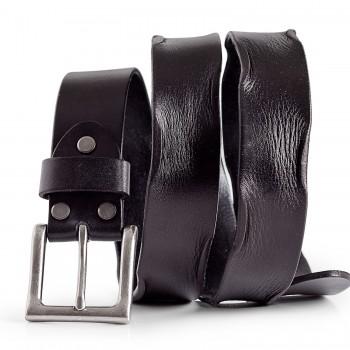 Mens Casual Leather Belt Everyday Wear Black Italian Leather 1.5in Width