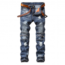 Blue Biker Jeans Regular Fit Zipper Knees