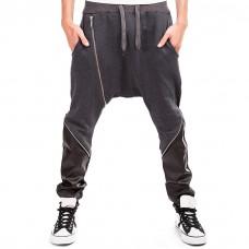Drop Crotch Jogger Pants Zipper Detail