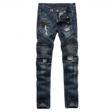 Cool Distressed Blue Biker Jeans Standard Fit